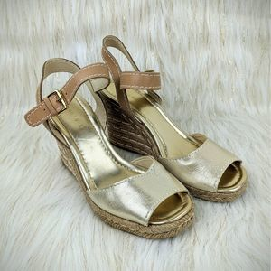 Marc Fisher Gold Espadrille Wedge Open Toe Sandals